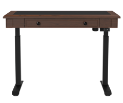 Akicon Electric Standing Desk Single Motor 49.2''x25.6'' Adjustable Height Desk with Inset Utility Drawer-Cherry (Black Frame/Wooden Top)